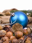 Hazelnuts and Christmas bauble