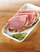 Open ham sandwich and fresh cress