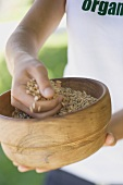 Hands holding a wooden bowl of cereal grains