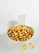A spoonful of corn kernels