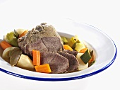Boiled beef with soup vegetables