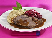Sauerbraten (pot roast) with red cabbage & napkin dumplings
