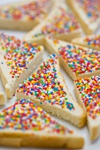 Fairy bread (Bread triangles topped with sprinkles, Australia)