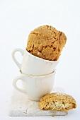 Almond biscuits in espresso cups