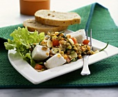 Lentil salad with fresh goat's cheese
