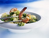 Savoy cabbage with potatoes and prawns