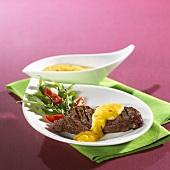 Beef steak with mango sauce