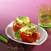 Stuffed tomatoes with melted cheese