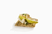 Pear, Cheese and Nut on a Cracker; Appetizer
