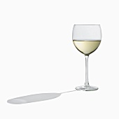 Glass of White Wine on White with Shadow