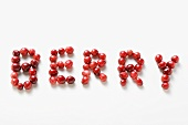 Schrift BERRY aus Cranberries