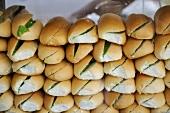 Split rolls ready filled with lettuce