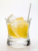 Vodka with lemon and ice cubes