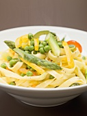 Ribbon pasta with mixed vegetables