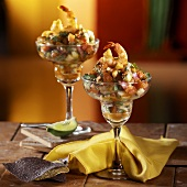 Lime Salsa in Margarita Glasses Topped with Shrimp