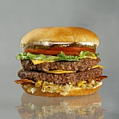 Double Cheeseburger with Bacon, Lettuce, Tomato and Pickles