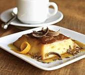 Flan with Chocolate Curls