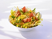 Frisée with cucumber, tomato, sweetcorn and carrot