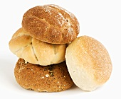 Four different bread rolls