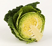 A halved savoy cabbage