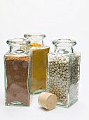 Nutmeg, turmeric, white peppercorns in spice bottles