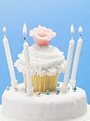 Birthday cake with muffin decoration, marzipan rose & candles