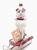 Christmas decoration (poodle on small toboggan)