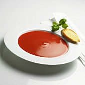 Tomato soup with toast and basil