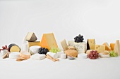 Cheese still life with grapes and crackers