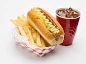 Hot dog with chips and cola