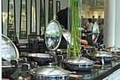 Pans on a buffet (Thailand)