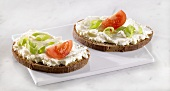 Cream cheese, spring onions & tomato on two slices of bread