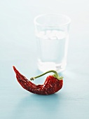 Dried chilli in front of glass of water