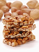 Stacked bars of almond and peanut brittle