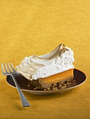 Slice of Sweet Potato Meringue Pie; With Fork