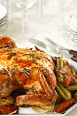 Whole Roast Chicken with Rosemary and Roasted Vegetables