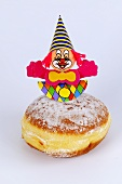 A doughnut with a clown