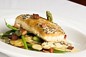 Salmon Steak with Caper Sauce on Potatoes, Beans and Asparagus
