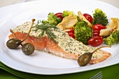 Salmon fillet with mustard & dill sauce, vegetables, caper berries