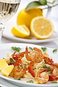 Fettuccine with prawns, lemons and red pepper