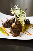 Lamb Chops with Frisee Garnish and Vegetable Puree