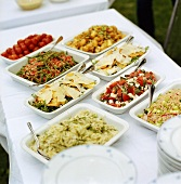 Buffet of assorted salads