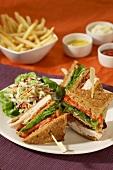 Turkey Club Sandwich with Slaw; French Fries