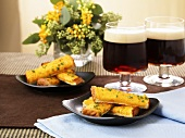 Welsh rarebit with dark beer