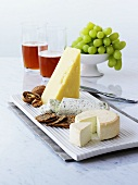 Various cheeses with crackers, walnuts, grapes, beer
