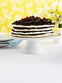 Layered meringue cake with chocolate cream and raspberries