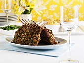 Rack of lamb with nut and herb crust, potato soufflé