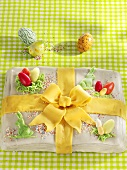Easter cake with marzipan bow