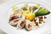 Rolled turkey breast with pasta envelopes, courgettes & mushrooms