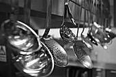 Ladles and skimmers hanging up (black & white photo)